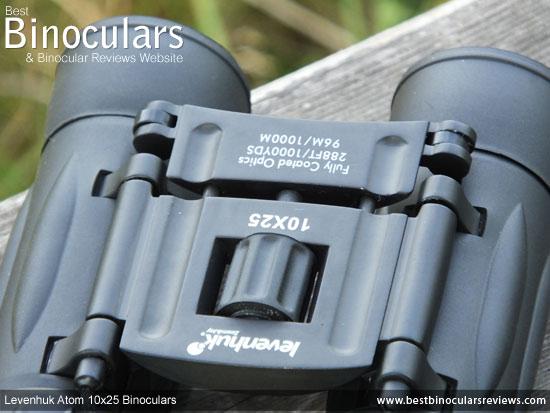 Focus Wheel on the Levenhuk Atom 10x25 Binoculars