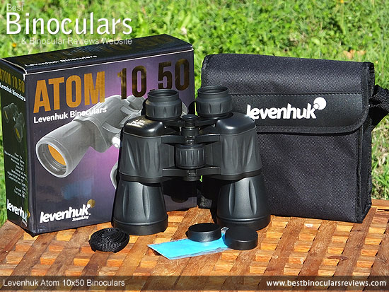 Levenhuk Atom 10x50 Binoculars with accessories