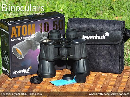 Levenhuk Atom 10x50 Binoculars with accessories