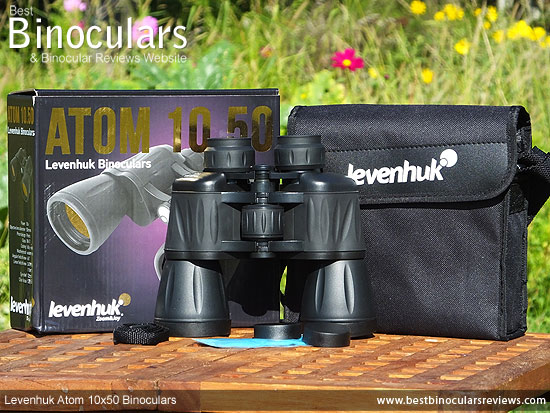 Levenhuk Atom 10x50 Binoculars with neck strap, carry case, cleaning cloth & lens covers