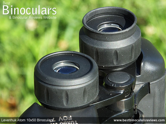 Eyecups on the Levenhuk Atom 10x50 Binoculars
