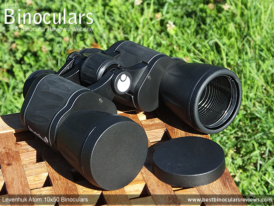 Lens Covers on the Levenhuk Atom 10x50 Binoculars