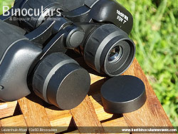 Eyepiece covers on the Levenhuk Atom 10x50 Binoculars