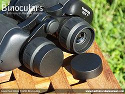 Eyepiece covers on the Levenhuk Atom 10x50 Binoculars