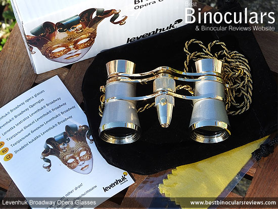 Levenhuk Broadway 325F Opera Glasses, with carry pouch and neck chain