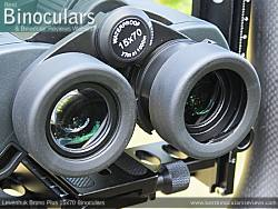 Fold-down eyecups on the Levenhuk Bruno Plus 15x70 Binoculars