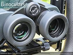 Fold-down eyecups on the Levenhuk Bruno Plus 15x70 Binoculars