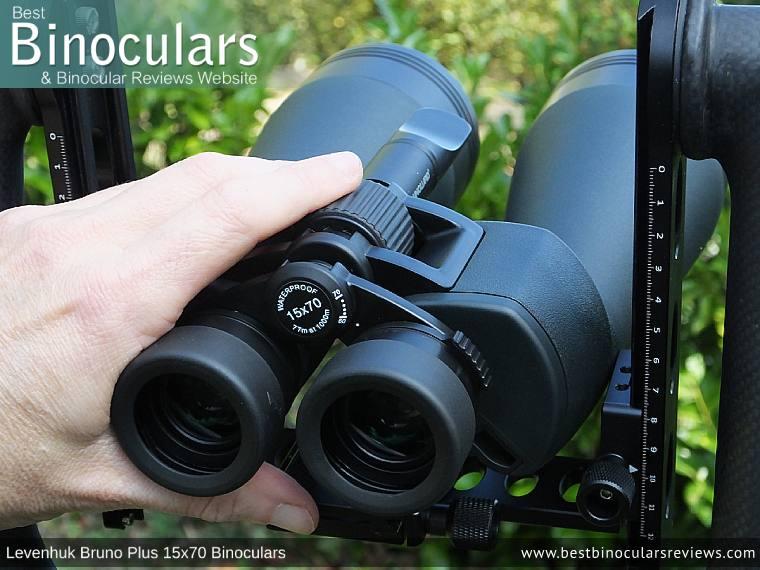 Individual Eyepiece Focus on the Levenhuk Bruno Plus 15x70 Binoculars
