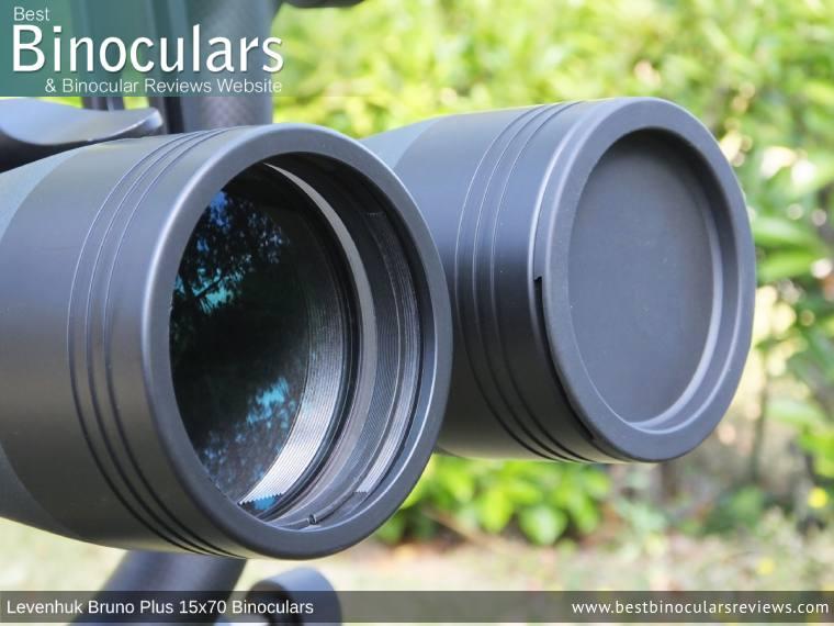 Objective Lens Covers on the Levenhuk Bruno Plus 15x70 Binoculars