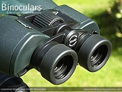 Fold-down eyecups on the Levenhuk Bruno Plus 20x80 binoculars