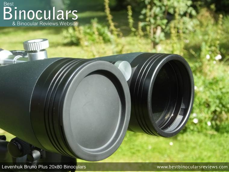 Objective Lens Covers on the Levenhuk Bruno Plus 20x80 binoculars