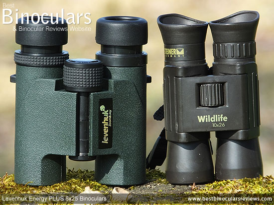 Size comparison between a folded double hinge roof prism Compact and the duel hinge Levenhuk Energy PLUS binoculars