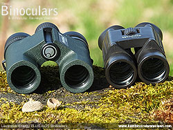 Size comparison between a double hinge roof prism Compact and the duel hinge Levenhuk Energy PLUS binoculars