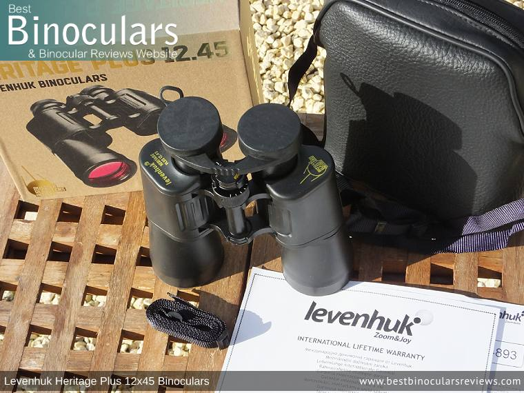 Levenhuk Heritage Plus 12x45 Binoculars with neck strap, carry case and lens covers