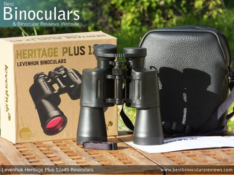 Carry Case, Neck Strap, Cleaning Cloth, Lens Covers & the Levenhuk Heritage Plus 12x45 Binoculars