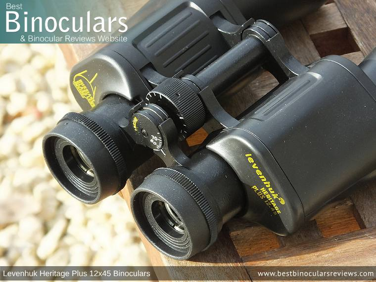 Focus Wheel on the Levenhuk Heritage Plus 12x45 Binoculars