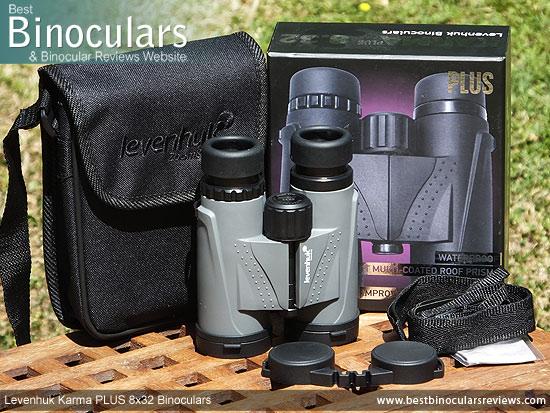 Levenhuk Karma PLUS 8x32 Binoculars and accessories plus packaging