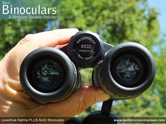 Focus Wheel on the Levenhuk Karma PLUS 8x32 Binoculars