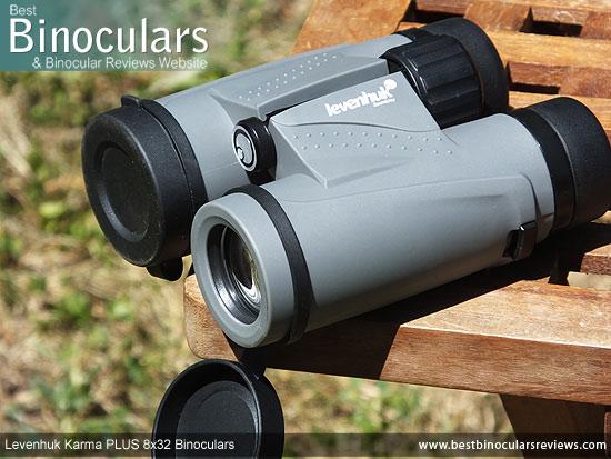 Lens Covers on the Levenhuk Karma PLUS 8x32 Binoculars