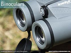 Deeply inset 32mm Objective lens on the Levenhuk Karma PLUS 8x32 Binoculars