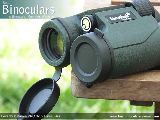Lens Covers on the Levenhuk Karma PRO 8x32 Binoculars