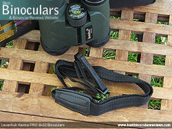 Neck strap on the Levenhuk Karma PRO 8x32 Binoculars