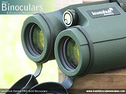Deeply inset 32mm Objective lens on the Levenhuk Karma PRO 8x32 Binoculars