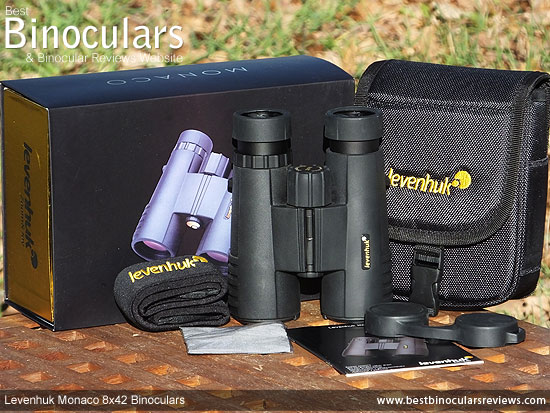 Levenhuk Monaco 8x42 Binoculars with neck strap, carry case and rain-guard