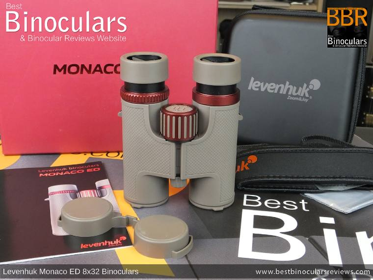 Levenhuk Monaco ED 8x32 Binoculars and accessories plus packaging