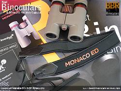 Neck strap on the Levenhuk Monaco ED 8x32 Binoculars