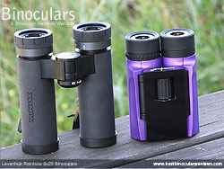 Size comparison between a single hinge roof prism Compact and the double hinge Levenhuk Rainbow binoculars