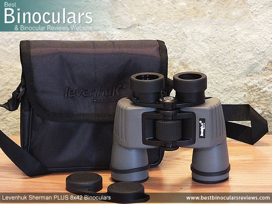Levenhuk Sherman Plus 8x42 Binoculars with neck strap, carry case and lens covers