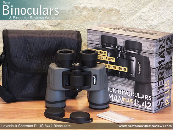 Carry Case, Neck Strap, Cleaning Cloth, Lens Covers & the Levenhuk Sherman Plus 8x42 Binoculars