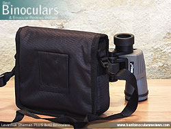 Rear view of the Carry Case & Levenhuk Sherman Plus 8x42 Binoculars