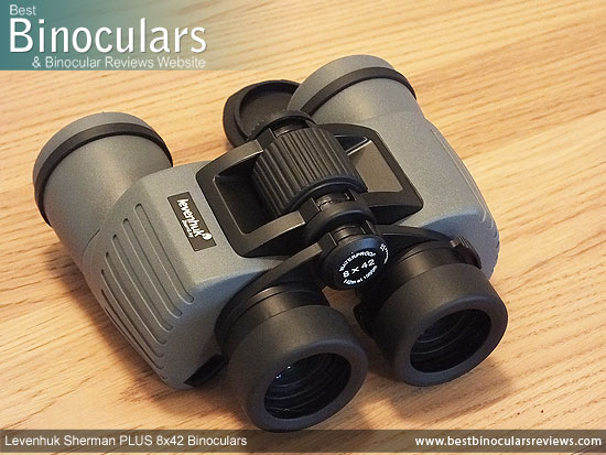 Focus Wheel on the Levenhuk Sherman Plus 8x42 Binoculars