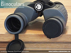 Objective Lens Covers on the Levenhuk Sherman Plus 8x42 Binoculars