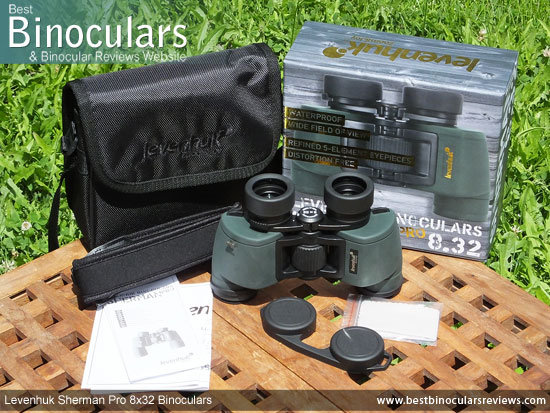 Levenhuk Sherman Pro 8x32 Binoculars with neck strap, carry case and lens covers
