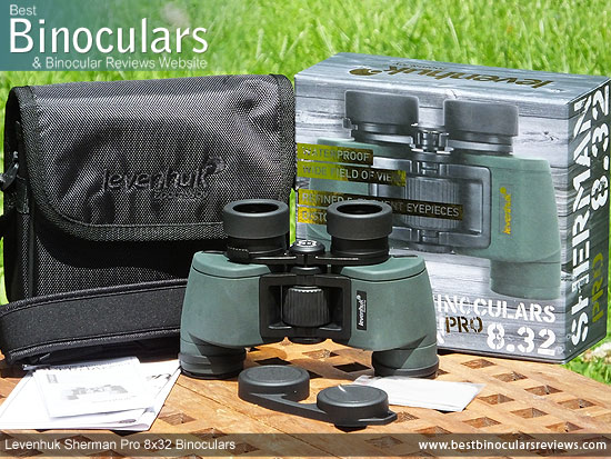 Carry Case, Neck Strap, Cleaning Cloth, Lens Covers & the Levenhuk Sherman Pro 8x32 Binoculars