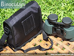 Rear view of the Carry Case & Levenhuk Sherman Pro 8x32 Binoculars