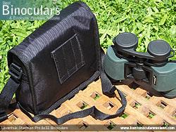 Rear view of the Carry Case & Levenhuk Sherman Pro 8x32 Binoculars