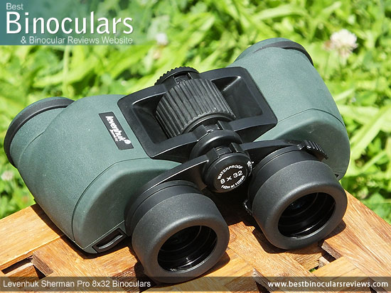 Focus Wheel on the Levenhuk Sherman Pro 8x32 Binoculars