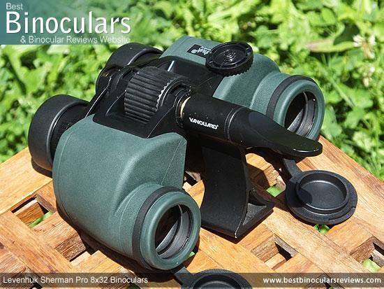 Tripod Adapter attached to the Levenhuk Sherman Pro 8x32 Binoculars