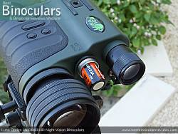 Battery Compartment on the Luna Optics LN-DB60-HD Digital Night Vision Binocular