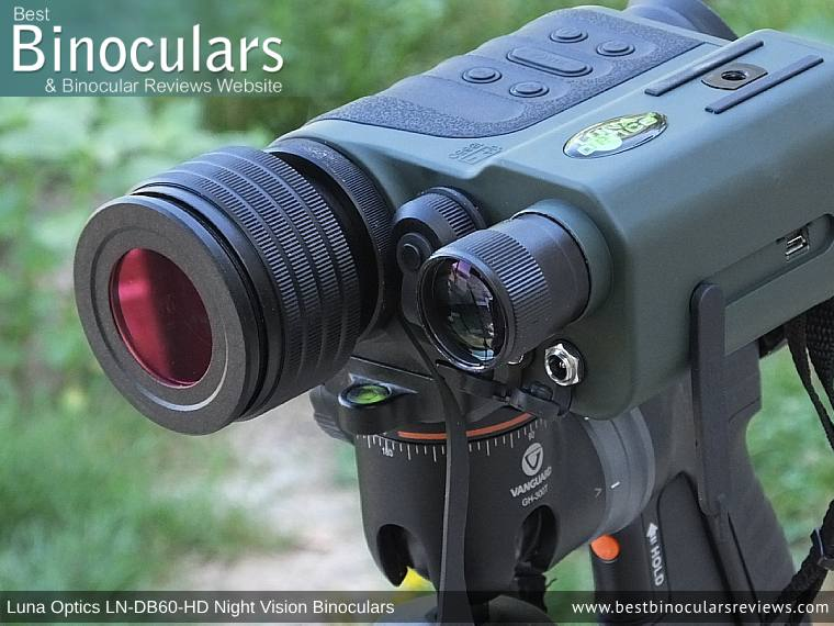 Color Enhancing Filter fitted onto the Luna Optics LN-DB60-HD Digital Night Vision Binocular