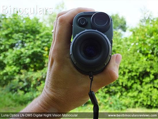 Me holdling the Luna Optics LN-DM5 Digital Night Vision Monocular