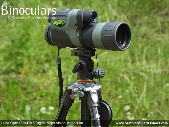 Luna Optics LN-DM5 Digital Night Vision Monocular mounted on a tripod using the Vanguard GH-100 Pistol Grip