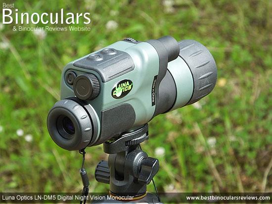 Luna Optics LN-DM5 Digital Night Vision Monocular mounted on a tripod using the Vanguard GH-100 Pistol Grip