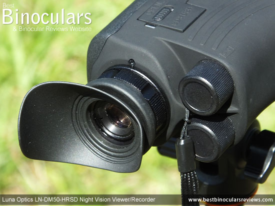 Eyepiece on the Luna Optics LN-DM50-HRSD Digital Night Vision Viewer/Recorder