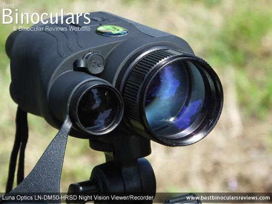 50mm Objective Lens on the Luna Optics LN-DM50-HRSD Digital Night Vision Viewer/Recorder