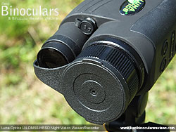 Objective Lens Cover on the Luna Optics LN-DM50-HRSD Digital Night Vision Viewer/Recorder mounted on a tripod